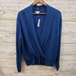 J Jill Prusian Blue Long Sleeve Front Wrap Sweater